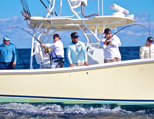 Double=header: Two of the Frank brothers are into fish while Peter Miller guides them. Photo: Courtesy Rick Sorensen Photography
