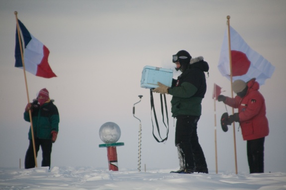 Keith Reimink shoots footage at the South Pole where he lived for a year as a cook at the South Pole Station. Courtesy Photo.