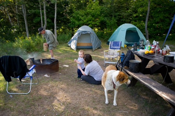 Campers enjoy time at Hog Island State Forest Campground. Photo by: Dave Kenyon, Michigan DNR.