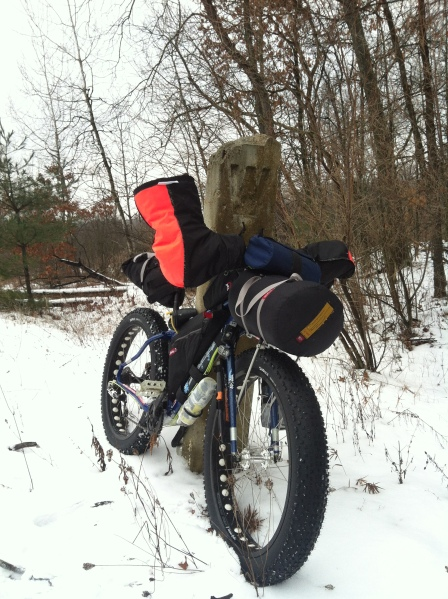 Ted Bentley's loaded bike on a an overnight winter cycle camping adventure. Courtesy photo.