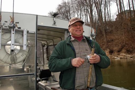 Russ Clark works a nice steelhead mid-day on the St. Joseph River. Photo: Howard Meyerson