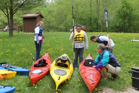 Jeff Neumann introduces a group of Grand Rapids Community College students to their first experience kayaking on the Grand River. Photo: Mark Neumann