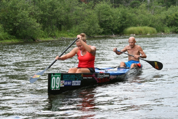 Al Widing and Hailey McMahon as they near the finish of the 2012 Spike Challenge race. Photo: Mark Sloan