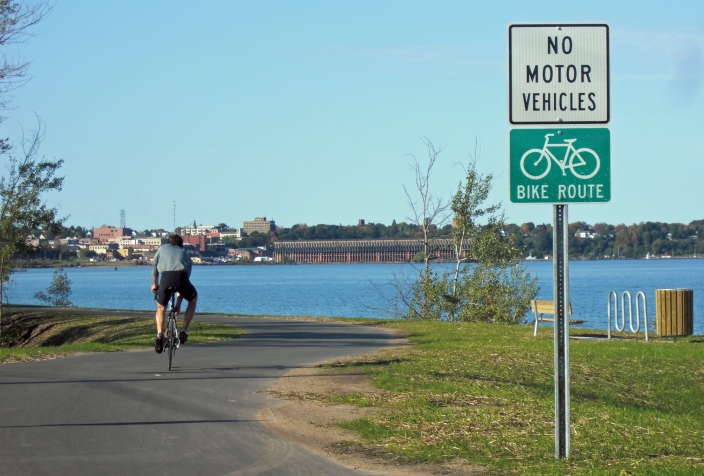 The Iron Ore Heritage Trail offers cyclists a view of the old ore dock in Marquette and other iron-era sights. Photo: Barbara Nelson-Jameson