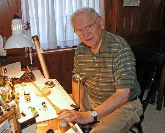 Wes Cooper, of Fremont, was honored by the Michigan Traditional Arts Program Satuday, Aug. 10, for his dedication and excellence in keeping bamboo rod building alive as a tradition. Photo: Howard Meyerson
