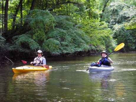 Bill McCain (left) and Don Harrell enjoy an open portion of the water trail. Photo: Howard Meyerson