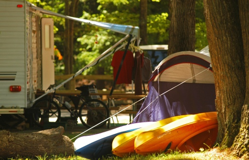 Families came with tents trailers and kayaks to enjoy the scenery at Ludington State Park. Photo: Howard Meyerson