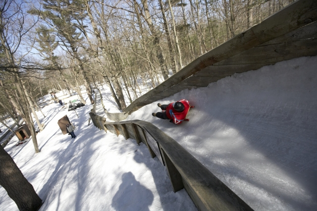 The luge at the Muskegon Winter Sports Complex will deliver to you to Nirvana at 30 mph. Photo: Courtesy of Muskegon Winter Sports Complex