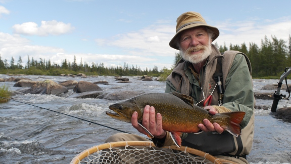 "Author John Gierach calls Labrador the Center of the Spiritual Universe for Brook Trout in ""North of Wild"" showing in the 2014 Fly Fishing Film Tour (Courtesy 