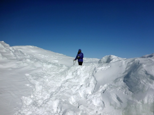 Walking the ice off the Leelanau Peninsula at times felt like walking in the arctic.  Photo: Howard Meyerson
