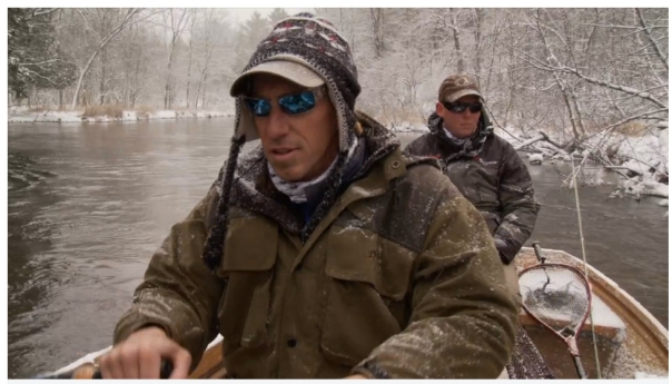 """Fishing guide, Frank Willetts (front) and """"Guided"""" show host Mark Melnyk (rear) take a trip down the Pere Marquette River during a shoot for the upcoming episode. Photo courtesy: Mark Melnyk."""