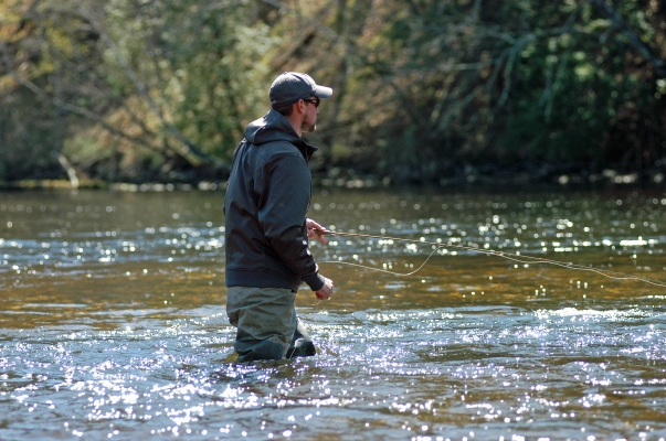 Trout fishing season opened statewide April 26, 2014 on many rivers and lakes, but some rivers, like the Muskegon River (shown) have been open all year. Photo: Howard Meyerson