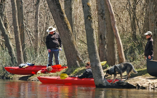 Paddlers get ready for a spring float on the Rogue River upstream from Rockford. Photo: Howard Meyerson