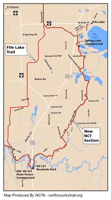 Fife Lake Loop: The North Country Trail reroute meets up with what is now the Fife Lake Trail to create a 21-mile loop. Source: North Country Trail Association.