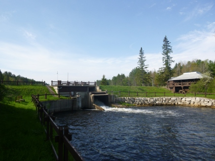 This dam at the Song of the Morning Ranch will be removed allowing fish to pass upstream on the Pigeon River. Photo: Courtesy of Huron Pines.
