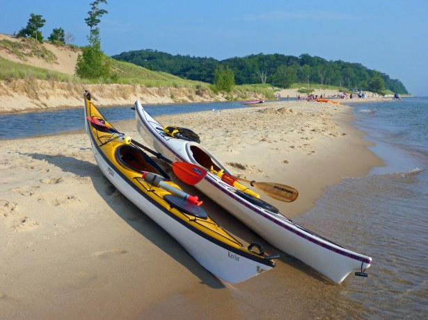 The sandy shoreline north of Michigan's Duck Lake State Park makes for soft landings when exploring Lake Michigan by kayak
