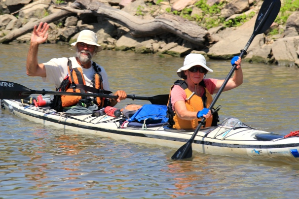 Day 36: Gary and Linda De Kock. passing through Hannibal, MO continue paddling down the Mississippi River. Photo:  Mark Geerlings