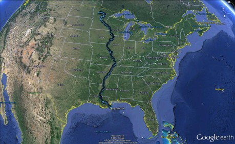 TheMississippi River passes through 10 states and empties into the Gulf of Mexico.