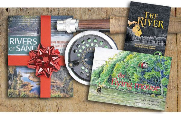 "Is there a fly fishing enthusiast on your shopping list? Here are three gift possibilities, starting clockwise at top right: ""The River,"" a production about the Au Sable River by videographer Robert Thompson; ""The Flying Mouse,"" a children's book by Charlotte Otten and illustrated by Greg Crawford; and ""Rivers of Sand: Fly Fishing Michigan & The Great Lakes Region,"" by Josh Greenberg, owner of Gates Au Sable Lodge near Grayling. (Ed Riojas/MLive.com photo illustration)"
