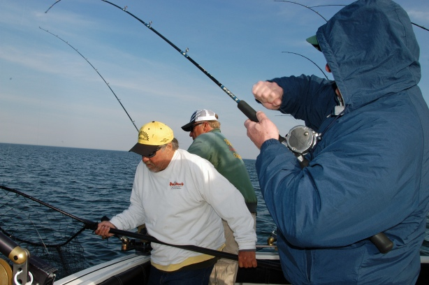 The salmon fishing action on Lake Michigan was sporadic in 2014. Anglers shown here on Sea Hawk Charters out of St. Joseph, had a good early season day in June before fishing slowed down on Lake Michigan. Photo: Howard Meyerson