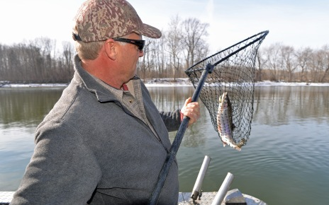 Clark nets another good fish. Photo: Howard Meyerson.