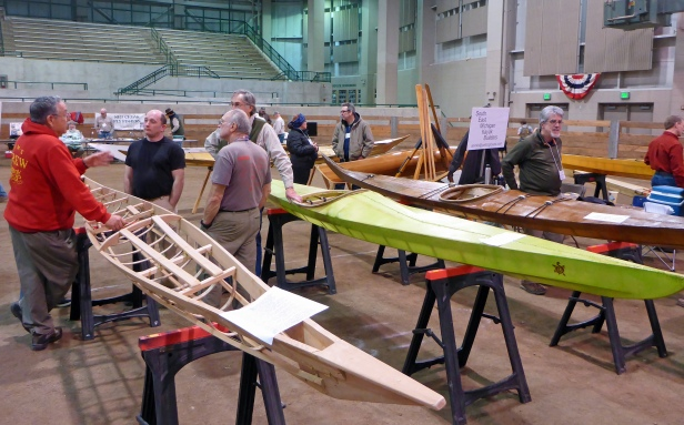Skin over wood frame kayaks are just some of the designs kayak builders will have on display. Photo: Howard Meyerson.