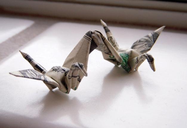 Dollar origami cranes CYMK by Ann Mai M