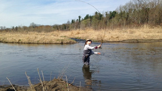 Dexter angler Lauren Kingsley enjoys a day fishing Mill Creek for trout. Photo: (Dirk Fishbach.