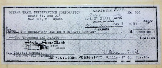 Bill Field's original check as a down payment for the trail, part of the historic collection at the Shelby Library.