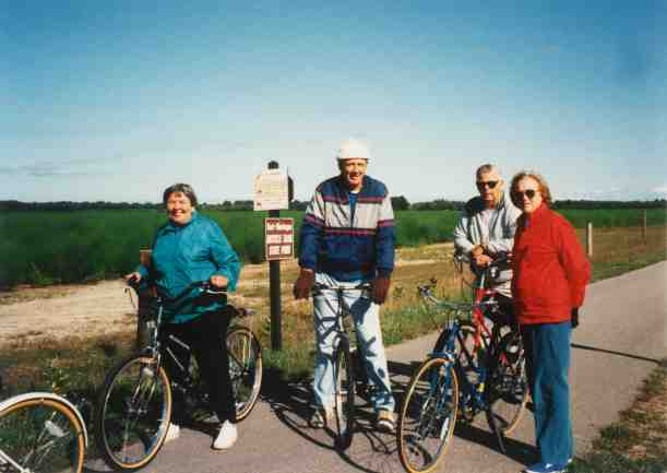 Bill Field rode the trail regulrly with family and friends. Pictured on an early morning ride to Mears are (left to right) Marlene Schihl, Bill Field, Bob Field (brother) and Bob' wife Emma. Photo courtesy of Marjorie Peterson.