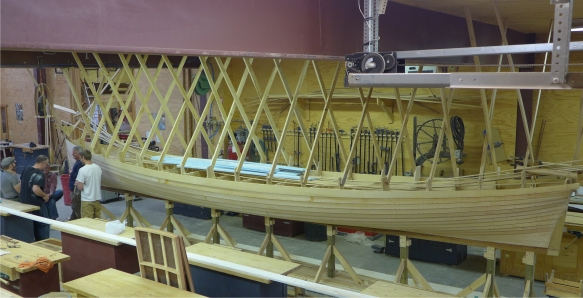 A pilot gig is rowed by six oarsman and coxswain who steers. Photo: Great Lakes Boat Building School.