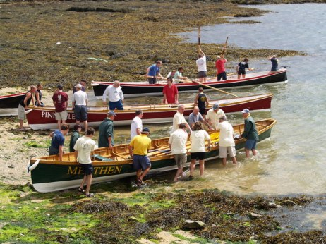 Pilot gigs being launched for a regatta in the U.K. Photo: Wikimedia Commons.