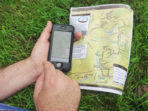 While paper maps show the trail and surroundings, a new digital map app developed by Matt Rowbotham and the North Country Trail Association also shows a hikers position and progress on the trail. Photo by Howard Meyerson