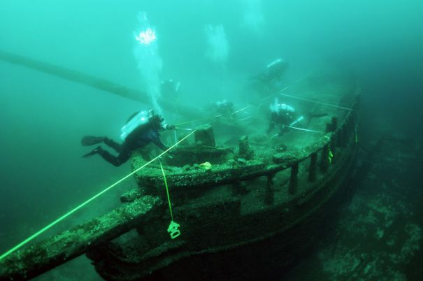 Divers survey the wreck of the schooner Northerner, which sank off Port Washington, Wis. in 1868. The National Oceanic & Atmospheric Administration is considering 875-square-mile of Lake Michigan off the Wisconsin coast for designation as a National Marine Sanctuary. Photo courtesy of Wisconsin Historical Society, Maritime Preservation and Archaeology Program.