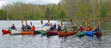 The group gathers for a paddler's salute. Photo by Howard Meyerson.